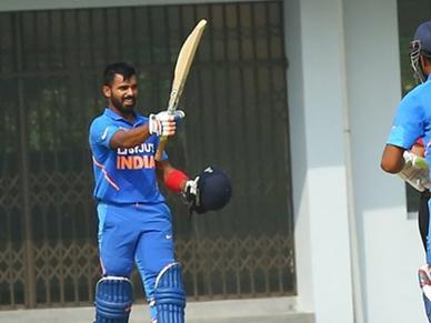 Chinmay Sutar slams maiden List A century with India Emerging Team
